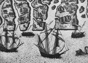1564 depiction by Jacque le Moynes of Ribault's and Laudonniere's expeditions into North Florida.